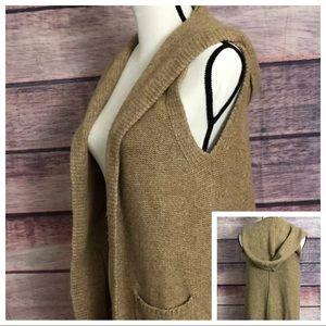 Tahari Vest Cardigan Hood Wool Blend Sweater S